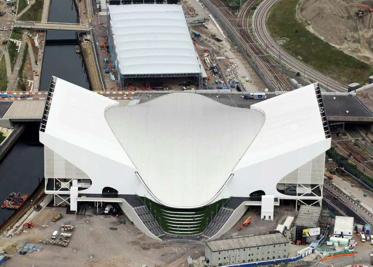 Aerial view of the Aquatics Centre which will host Swimming events with the Water Polo Arena which will host Water Polo during the London 2012 Olympic Games on July 26, 2011 in London, England.