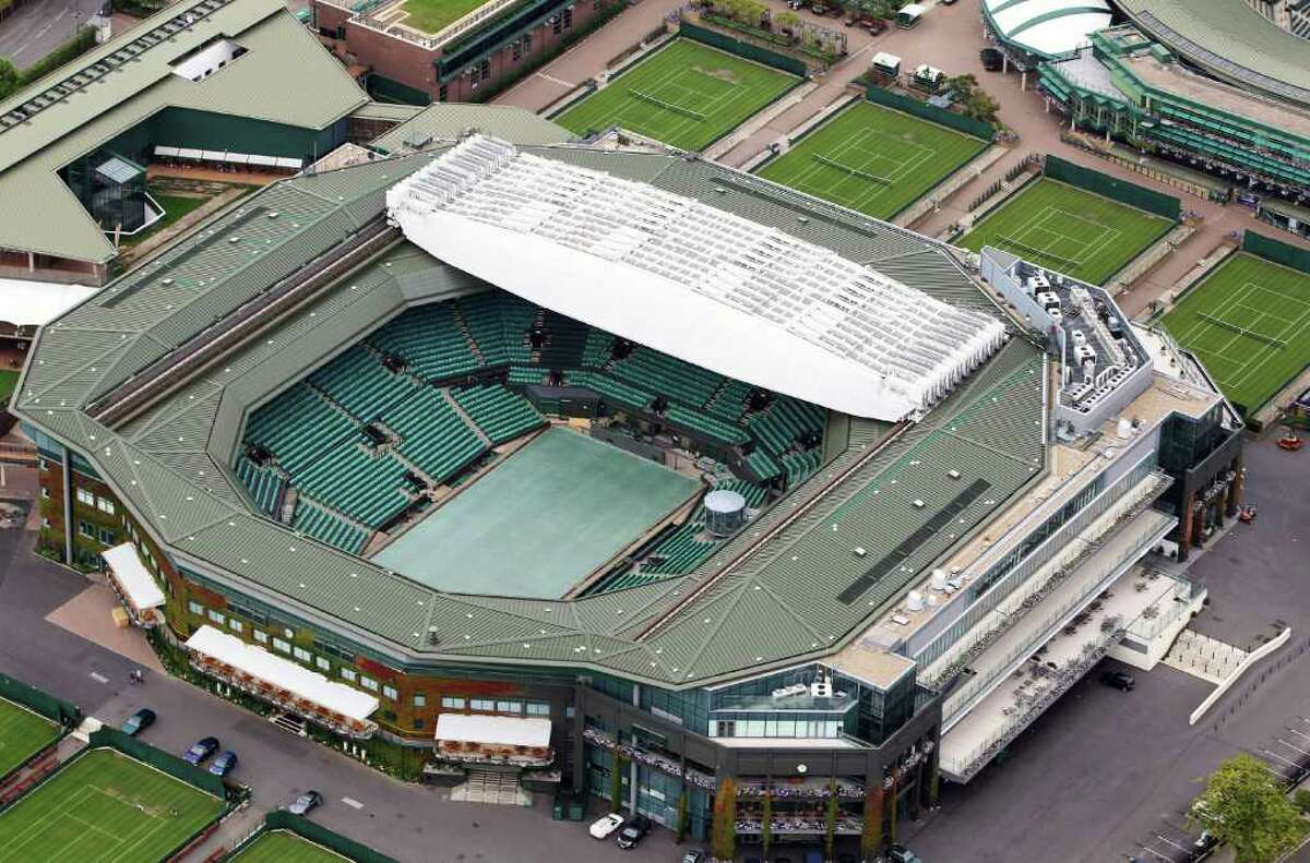 Aerial view of Wimbledon, home of AELTC which will host the Tennis events during the London 2012 Olympic Games on July 26, 2011 in London, England.