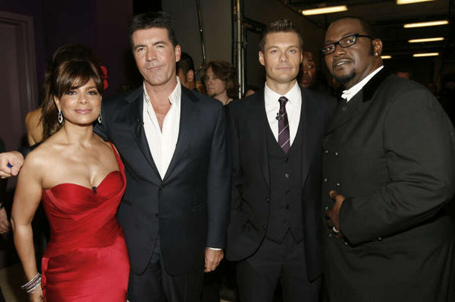 "From left, Paula Abdul, Simon Cowell, Ryan Seacrest, and Randy Jackson are seen backstage at the ""Idol Gives Back"" fundraising special of ""American Idol"" in Los Angeles on Sunday April 6, 2008. Photo: Matt Sayles, AP"