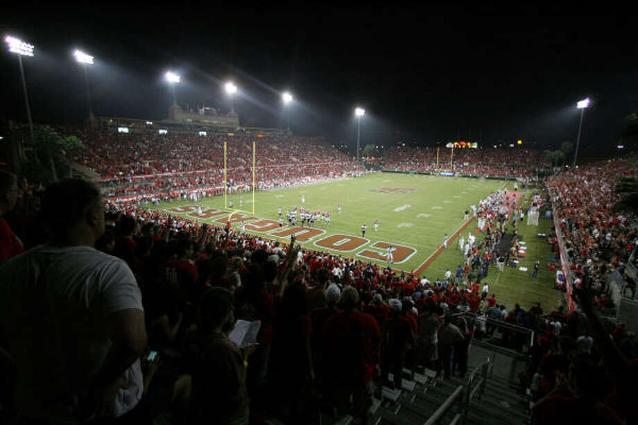 A general overall view of Robertson Stadium during the game in which UH defeated the Texas Tech 29-28 Saturday. Photo: Thomas B. Shea, Getty Images