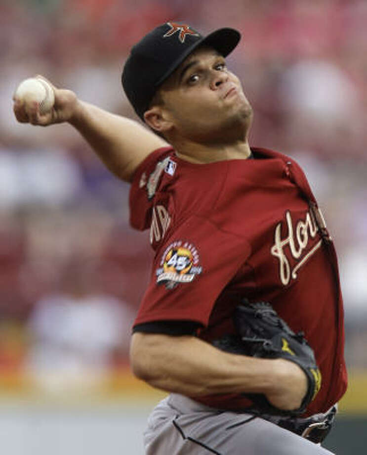Astros starting pitcher Wandy Rodriguez took the loss, pitching 3 1/3 innings and allowing eight runs. Photo: Al Behrman, AP