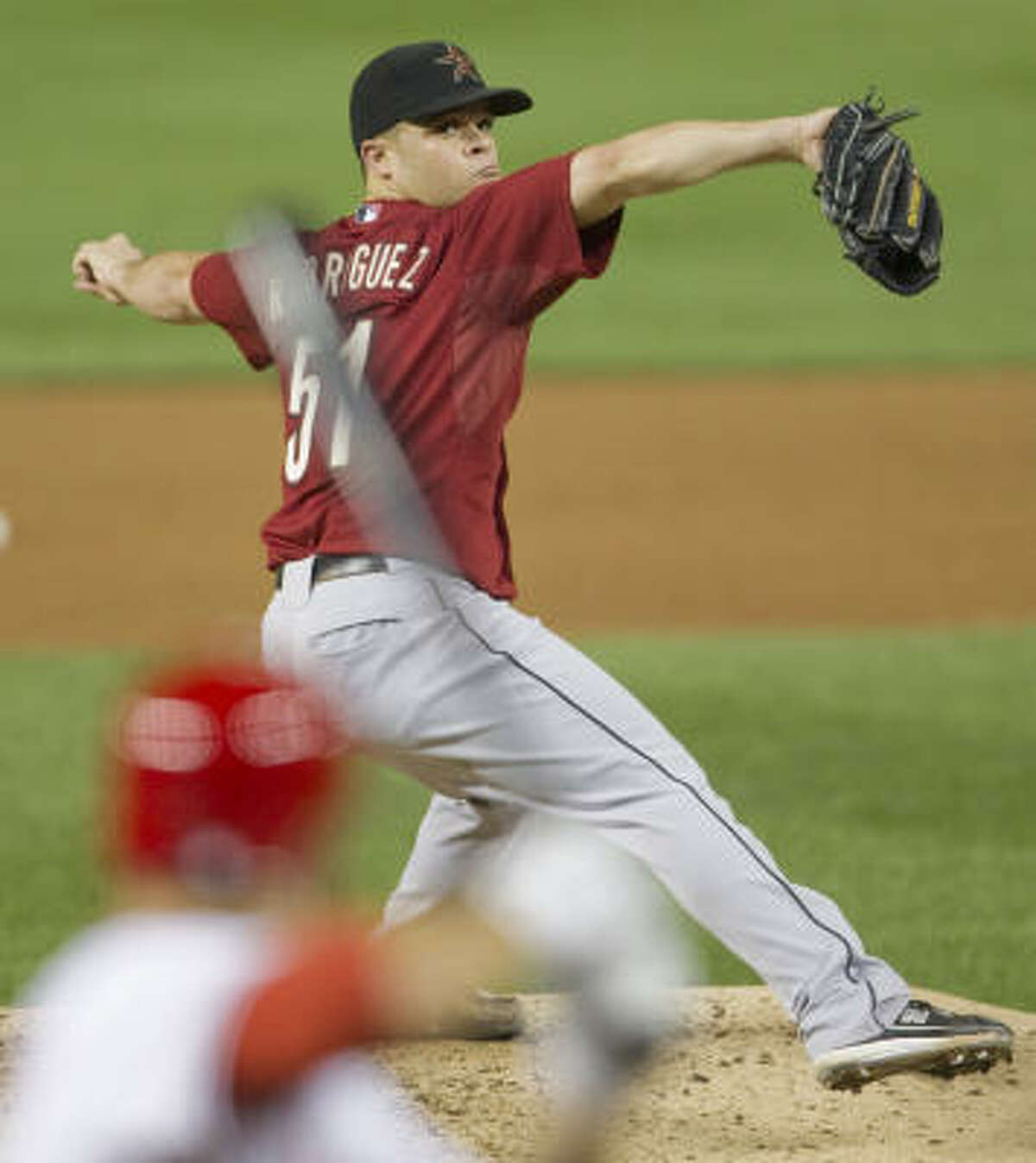 Astros starter pitcher Wandy Rodriguez surpassed the 100-pitch mark against the Nationals.