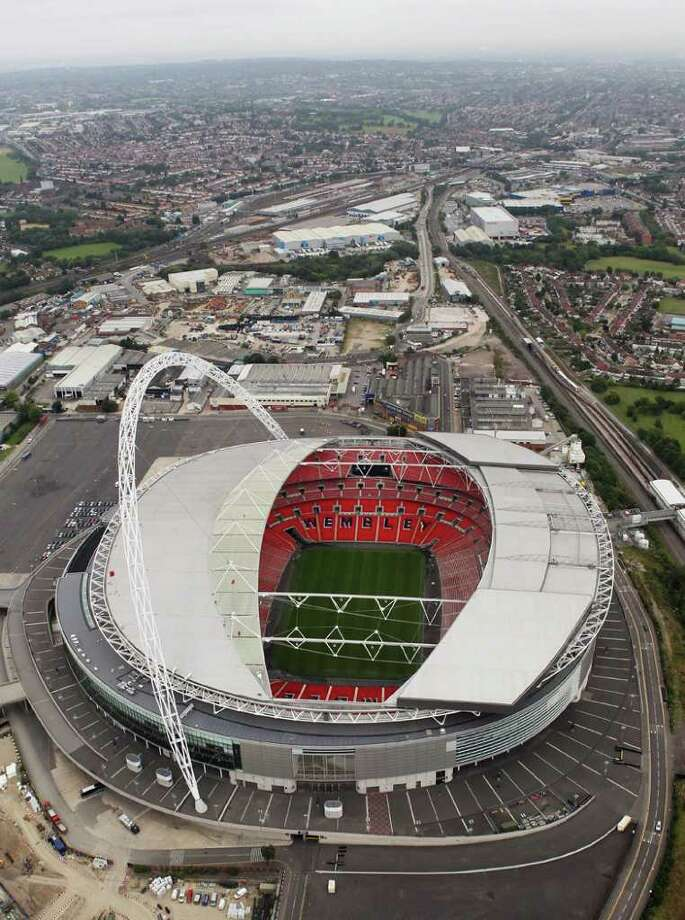 Aerial view of Wembley Stadium which will host football events during the London 2012 Olympic Games on July 26, 2011 in London, England. Photo: Tom Shaw, Photo By Tom Shaw/Getty Images / 2011 Getty Images