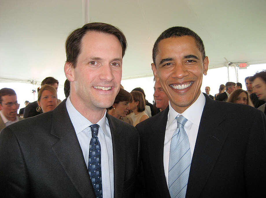 Jim Himes, left, of Greenwich, and Barack Obama at the home of Paul Tudor Jones II in Belle Haven, on May 19, 2007. Photo: Contributed Photo