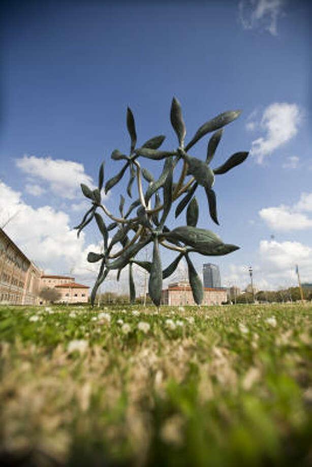 James Surls' Ten Big Standing Bronze Flowers (2008). Photo: Nick De La Torre :, Chronicle