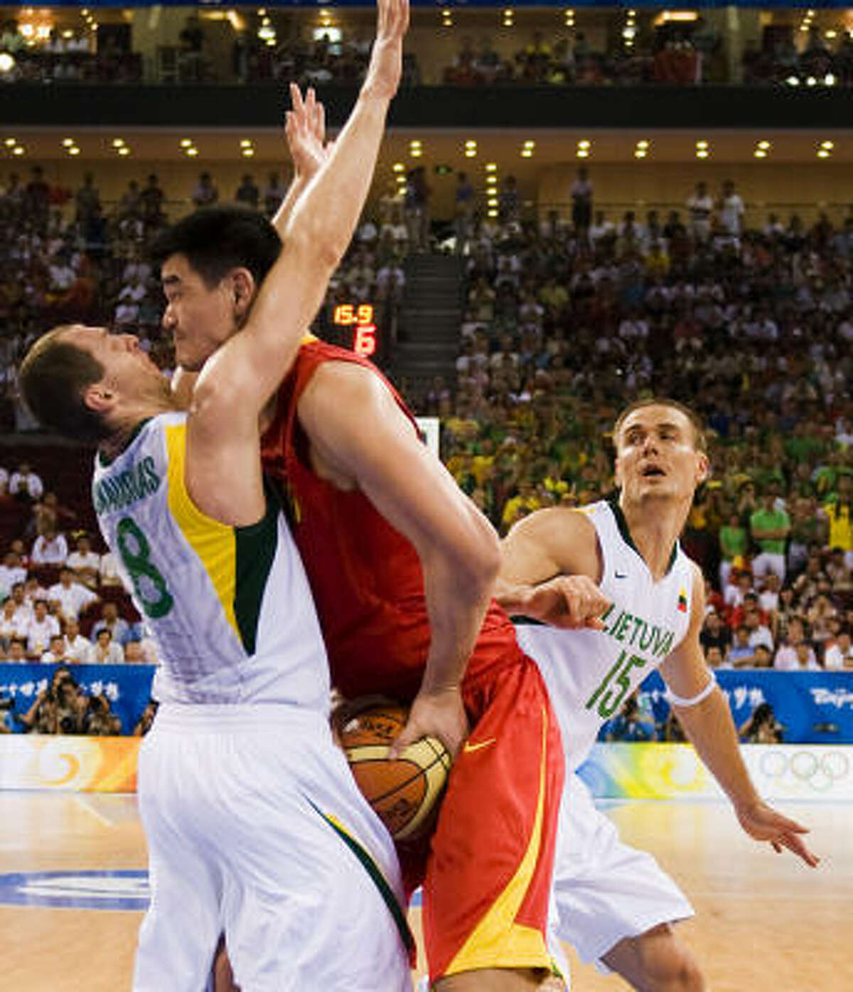 Yao Ming had 19 points in what could be his last game at the Olympics.