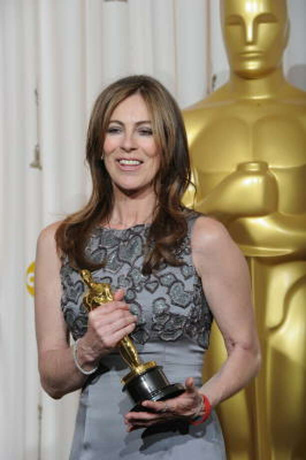Kathryn Bigelow celebrates winning the best director Oscar during the 82nd Academy Awards at the Kodak Theater in Hollywood on Sunday. Photo: MARK RALSTON, AFP/Getty Images