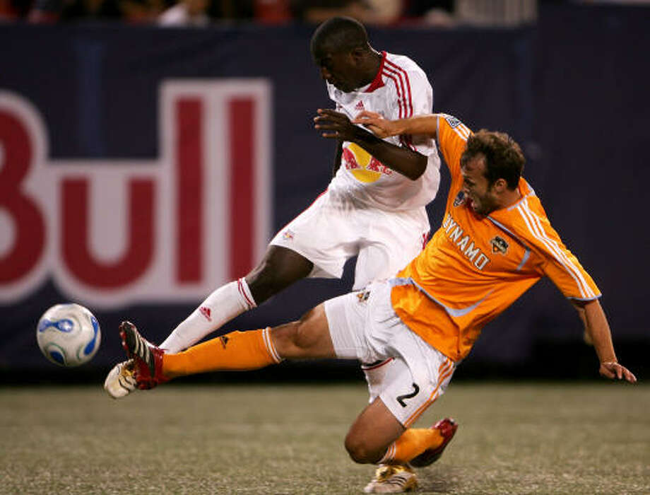 Josmer Altidore's goal, with the Dynamo's Eddie Robinson defending, was all it took to give the New York Red Bulls a 1-0 victory at East Rutherford, N.J., on Saturday. Photo: Chris McGrath, Getty Images