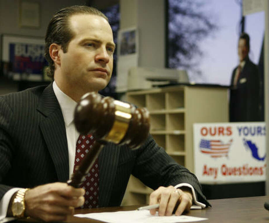 Harris County Republican Party Chairman Jared Woodfill holds a closed-door meeting Sunday to decide what to do about the controversy surrounding District Attorney Chuck Rosenthal. Photo: James Nielsen, Chronicle