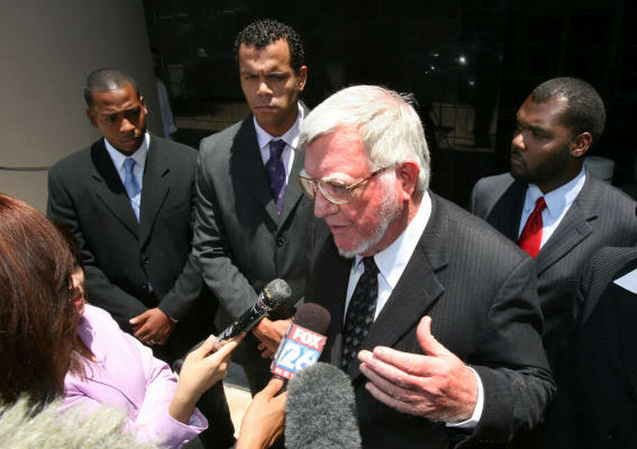 Attorney Patrick J. Gilpin talks to the media recently during jury selection for the federal lawsuit filed by former Texas Southern University students, from left, William Hudson, Oliver Brown and Justin Jordan. A jury agreed with their contention that they suffered retaliation for publicly criticizing the school's administration. Photo: Steve Campbell, Houston Chronicle