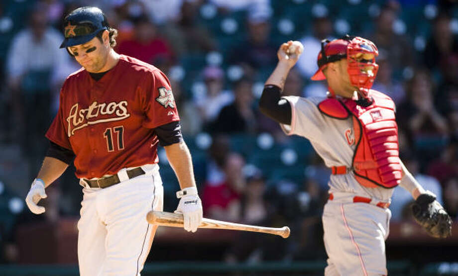 Lance Berkman enters May with a .162 batting average and a team-high 22 strikeouts. Photo: Brett Coomer, Chronicle