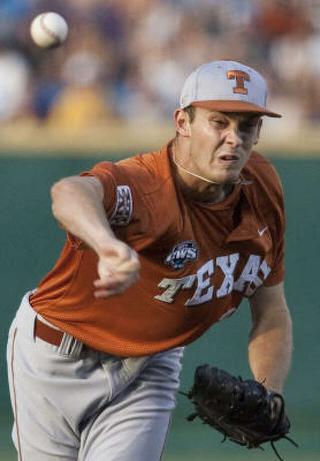 Texas starting pitcher Taylor Jungmann pitched the longest outing of his college career in a win over LSU to keep Texas alive in the CWS finals. Photo: Nati Harnik, AP