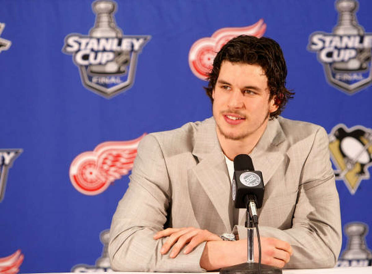 Sidney Crosby of the Pittsburgh Penguins addresses the media during Live at the Stanley Cup Final from Cobo Hall on Friday in Detroit.