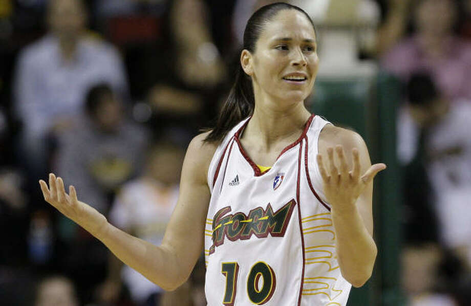 What gives with the WNBA? According to the boss, stars like Sue Bird keep the entertainment level high. Photo: Elaine Thompson, AP