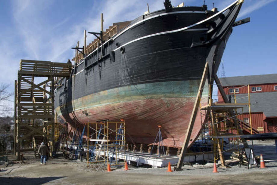 The last wooden whaling ship, the Charles W. Morgan, could get 176 tons of oak for repairs in Mystic, Conn. Photo: Mystic Seaport