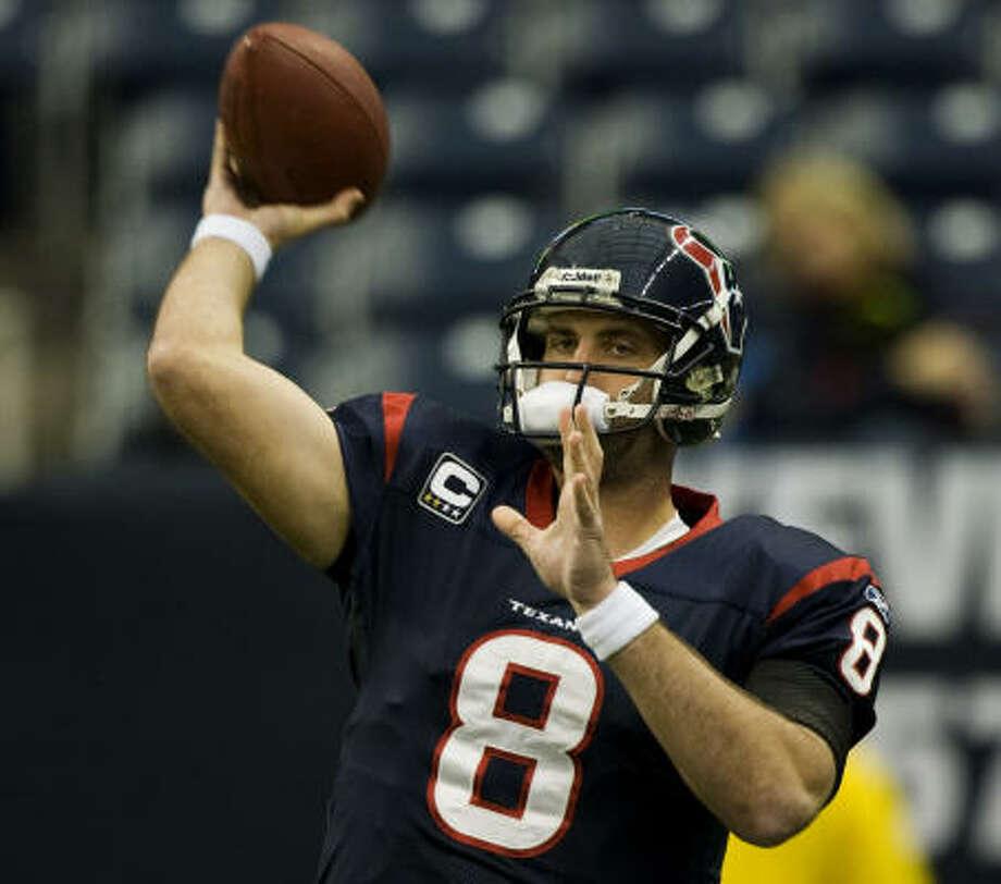 Texans quarterback Matt Schaub threw for 4,770 yards – sixth in NFL history. Photo: Brett Coomer, Chronicle