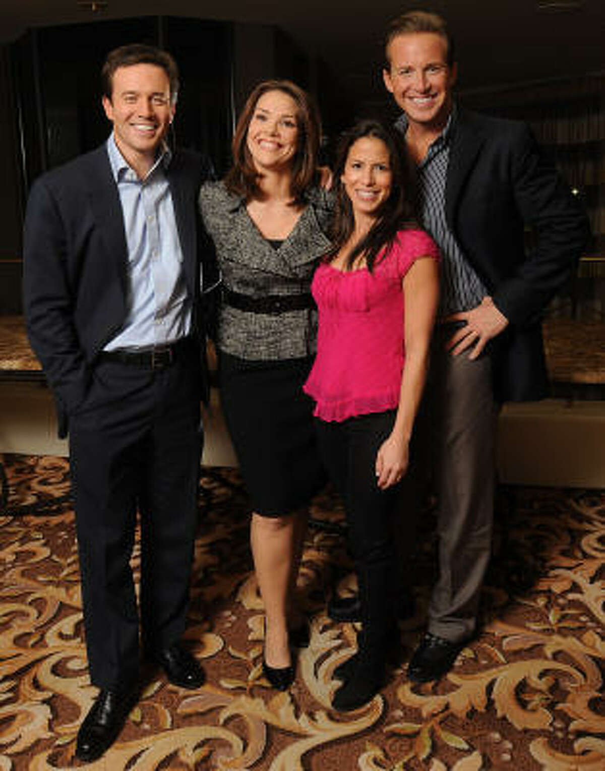 The new crew of The Early Show photographed at the Four Seasons Hotel Tuesday Dec. 14, 2010. From left: news anchor Jeff Glor, co-anchor Erica Hill, weather anchor Marysol Castro and co-anchor Chris Wragge.(Dave Rossman/For the Chronicle)