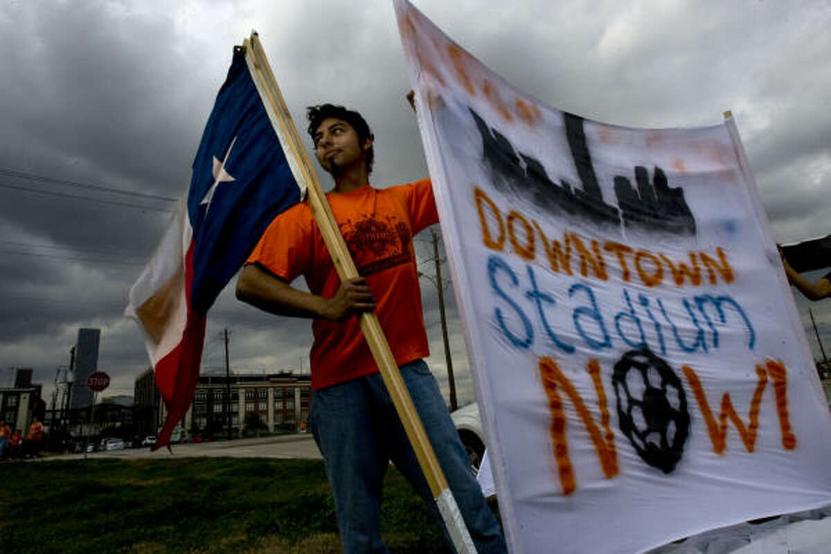 Members of the Dynamo Supporters' Alliance gathered Feb. 20 at Capitol and Bastrop to support the proposed downtown stadium site.