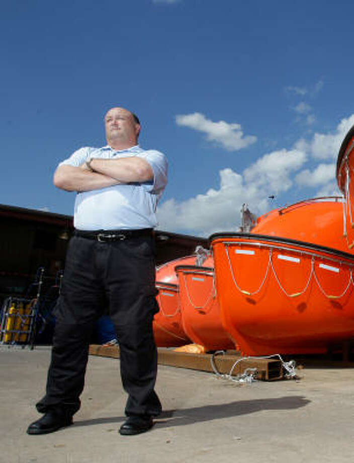 """John F. Ryan III, whose company supplies lifeboats used in the offshore oil and gas industry, hasn't had to lay off any of his 85 employees. """"But is it on my mind? Certainly,"""" Ryan says. Photo: Melissa Phillip, Chronicle"""