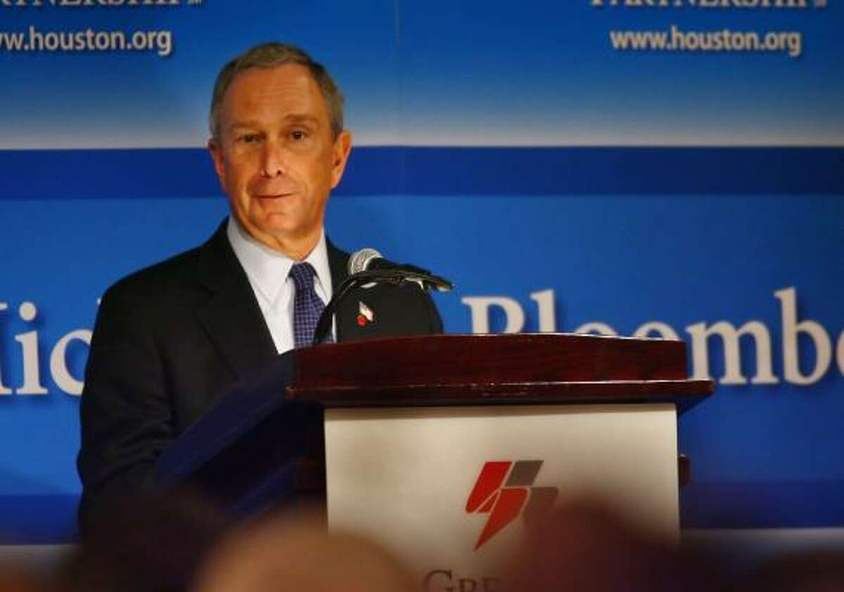 New York City Mayor Michael Bloomberg stopped off in Houston to speak about environmental awareness at a Greater Houston Partnership luncheon.
