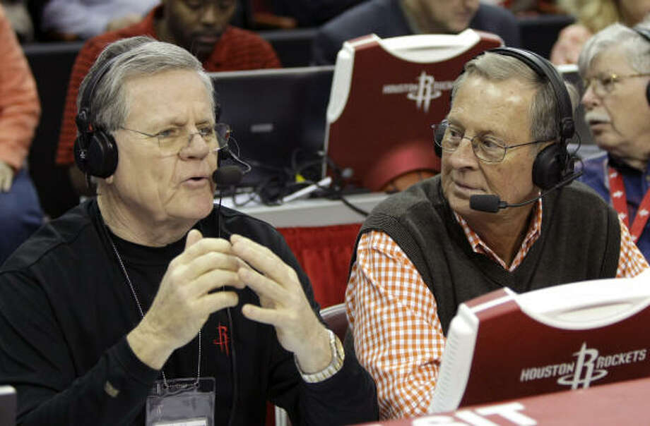 Jim Foley (left) and Gene Peterson call a Rockets game against the Miami Heat. Photo: Brett Coomer, Chronicle