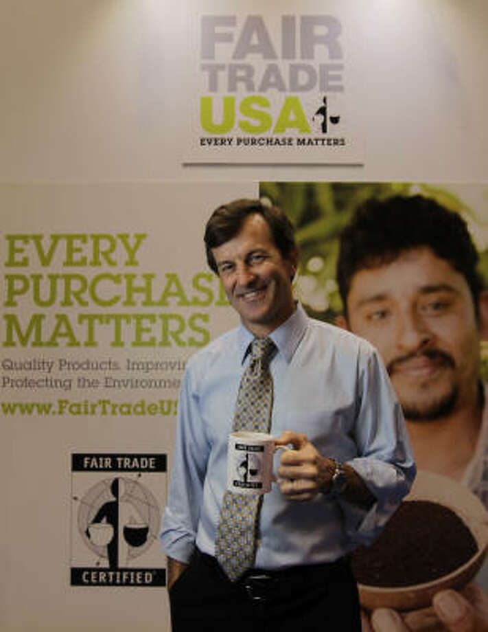 Paul Rice is CEO of Fair Trade USA, a group promoting decent pay for farmers. He has a booth at the Specialty Coffee Association of America convention in Houston. Photo: Karen Warren:, Chronicle