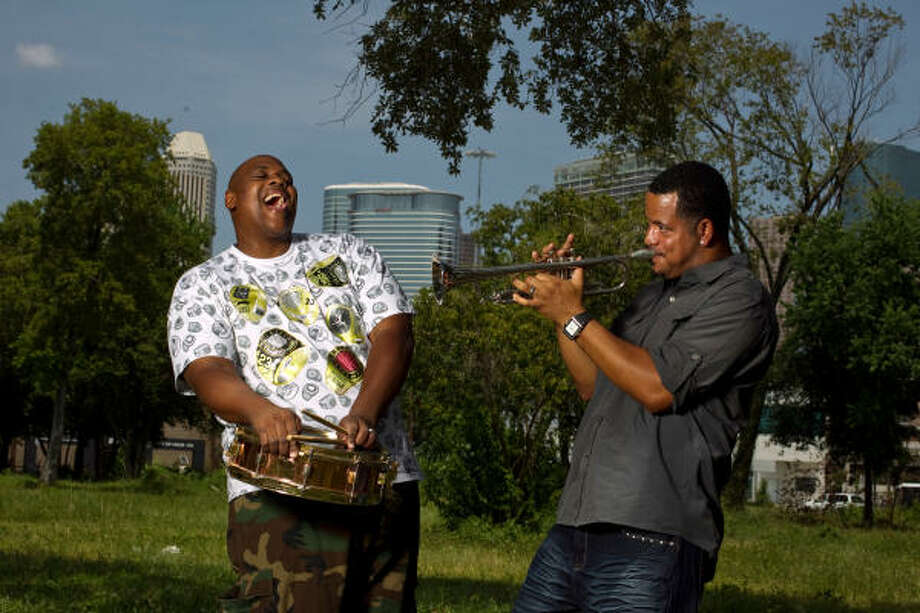Lumar LeBlanc, left, and Marcus Hubbard, both members of the Soul Rebel Brass Band, established roots in Houston. Photo: Nick De La Torre, Chronicle
