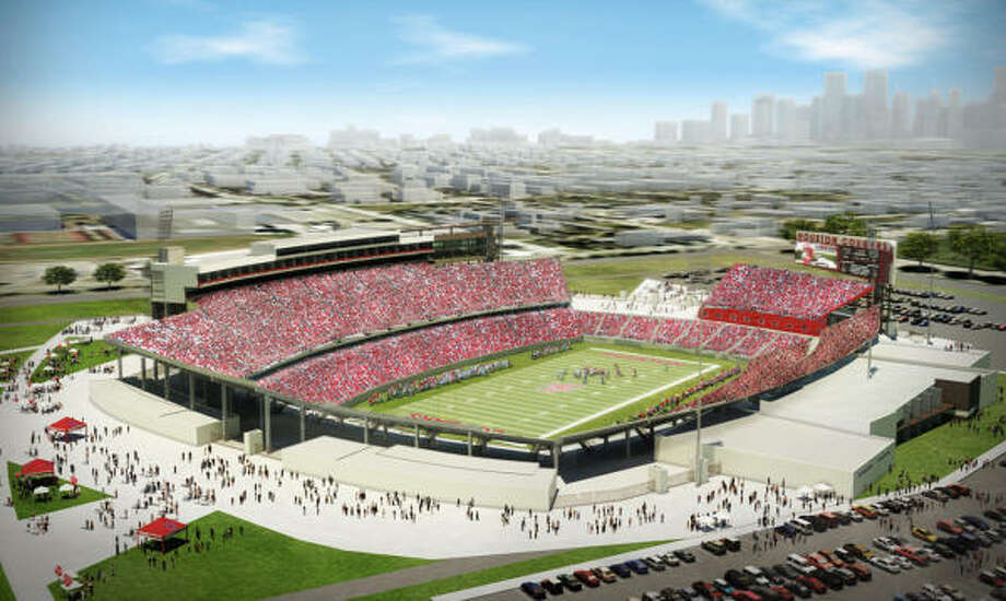 UH last week unveiled plans to build a $120 million football stadium and to undertake a $40 million renovation of Hofheinz Pavilion. Photo: University Of Houston