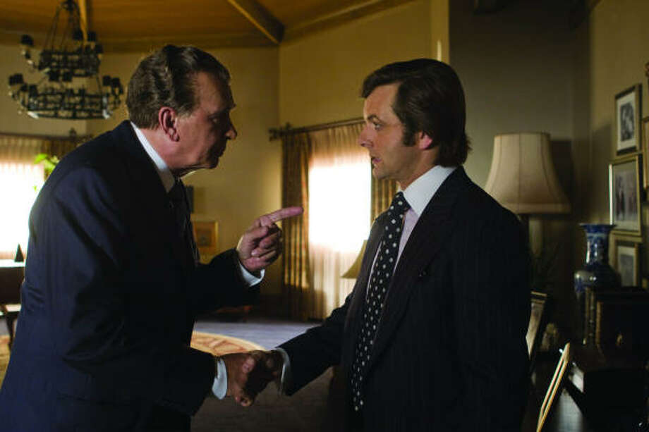 Richard Nixon (Frank Langella) and David Frost (Michael Sheen) exchange pleasantries in Frost/Nixon. Photo: McCLATCHY TRIBUNE | UNIVERSAL STUDIOS