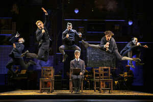 Anthony Lee Medina, Andy Mientus, Matt Shingledecker, Kyle Riabko, Blake Bashoff and Ben Moss in the national tour of Spring Awakening.