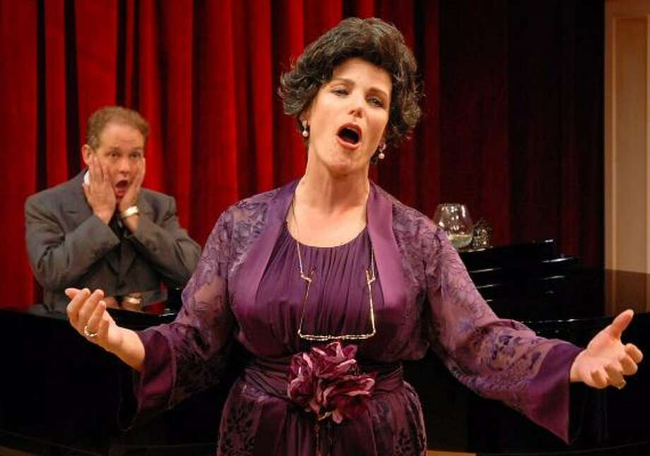 Accompanist Cosmé McMoon (Philip Lehl) reacts to the singing of socialite Florence Foster Jenkins in the Stages Repertory Theatre production of Souvenir. Photo: Dave Rossman, For The Chronicle