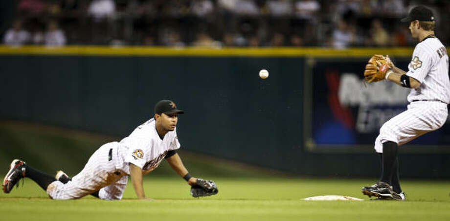 Astros shortstop Angel Sanchez tosses the ball to second baseman Jeff Keppinger to start a double play that ended the seventh inning. Photo: Michael Paulsen, Chronicle
