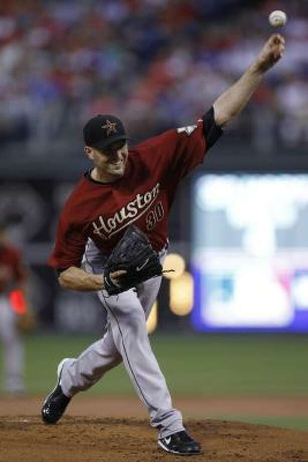 J.A. Happ started against the Phillies, the team that dealt him in the trade for Roy Oswalt. Photo: Matt Rourke, AP