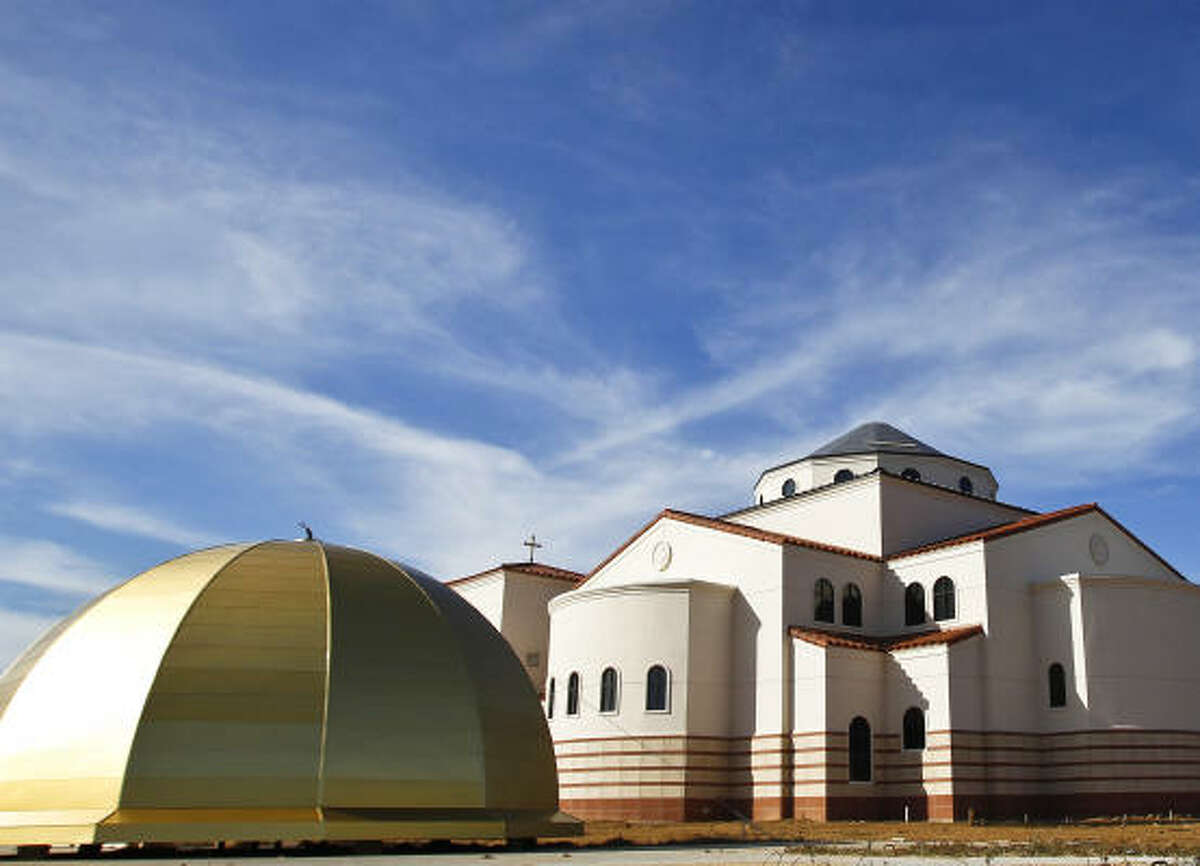 Built in a traditional neo-Byzantine style highlighting features like gold domes, Orthodox churches often stand out in a city's skyline. The dome for St. Anthony the Great Antiochian Christian Church in Spring is waiting to be attached.