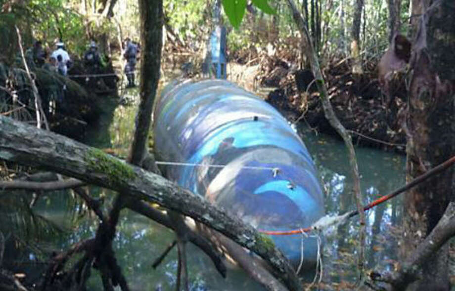 The sub was built in a clandestine dry dock in Ecuador's jungle along a waterway leading to the Pacific Ocean. Photo: DEA