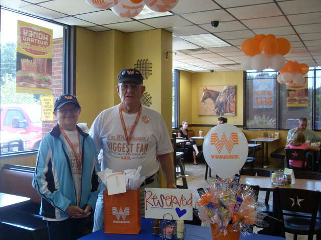 Rockport couple Carol and Karl Hoepfner, Whataburger's Biggest Fans, will eat their way through East Texas this week, hitting up 29 Whataburgers on an 800-mile stretch in only two days. Photo: Courtesy Of The Hoepfners
