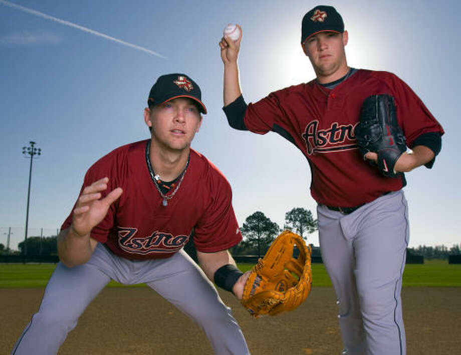 Third baseman Chris Johnson (left) and pitcher Bud Norris are two of the Astros' top-ranked prospects. Photo: James Nielsen, Chronicle