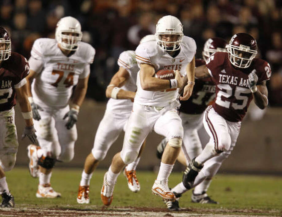 Colt McCoy will be the last Longhorn to wear No. 12 as it will be retired later this month. Photo: Karen Warren, Chronicle