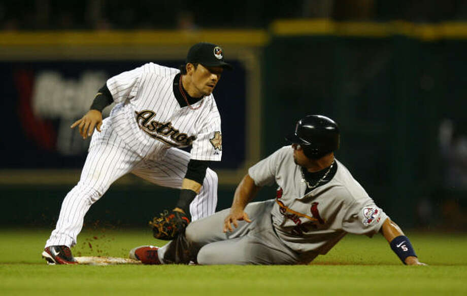 Kaz Matsui hit .141 and lost his starting job before the Astros released him May 19. Photo: Michael Paulsen, Chronicle