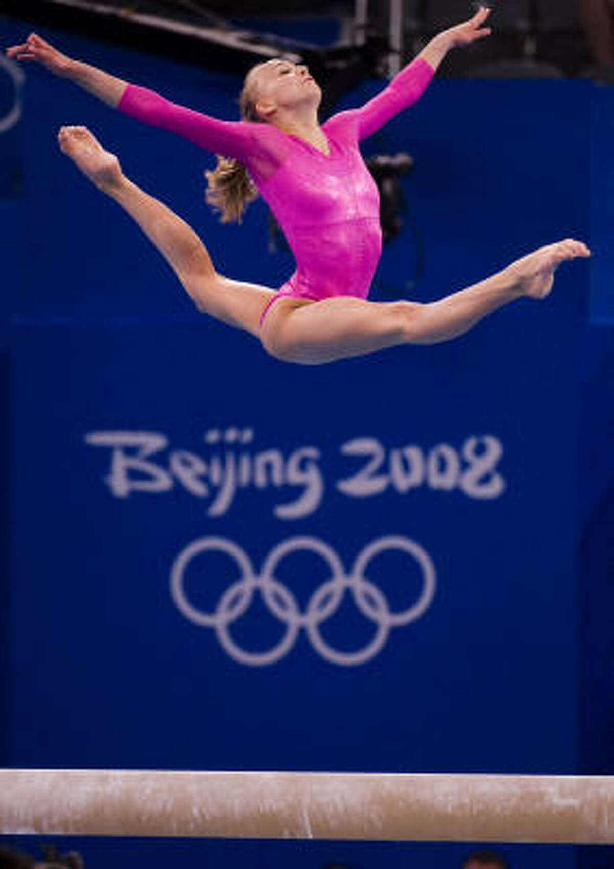 U.S. gymnast Nastia Liukin competes on the balance beam on her way to winning the gold medal during the women's gymnastics all-around final at the 2008 Summer Olympic Games on Friday in Beijing.
