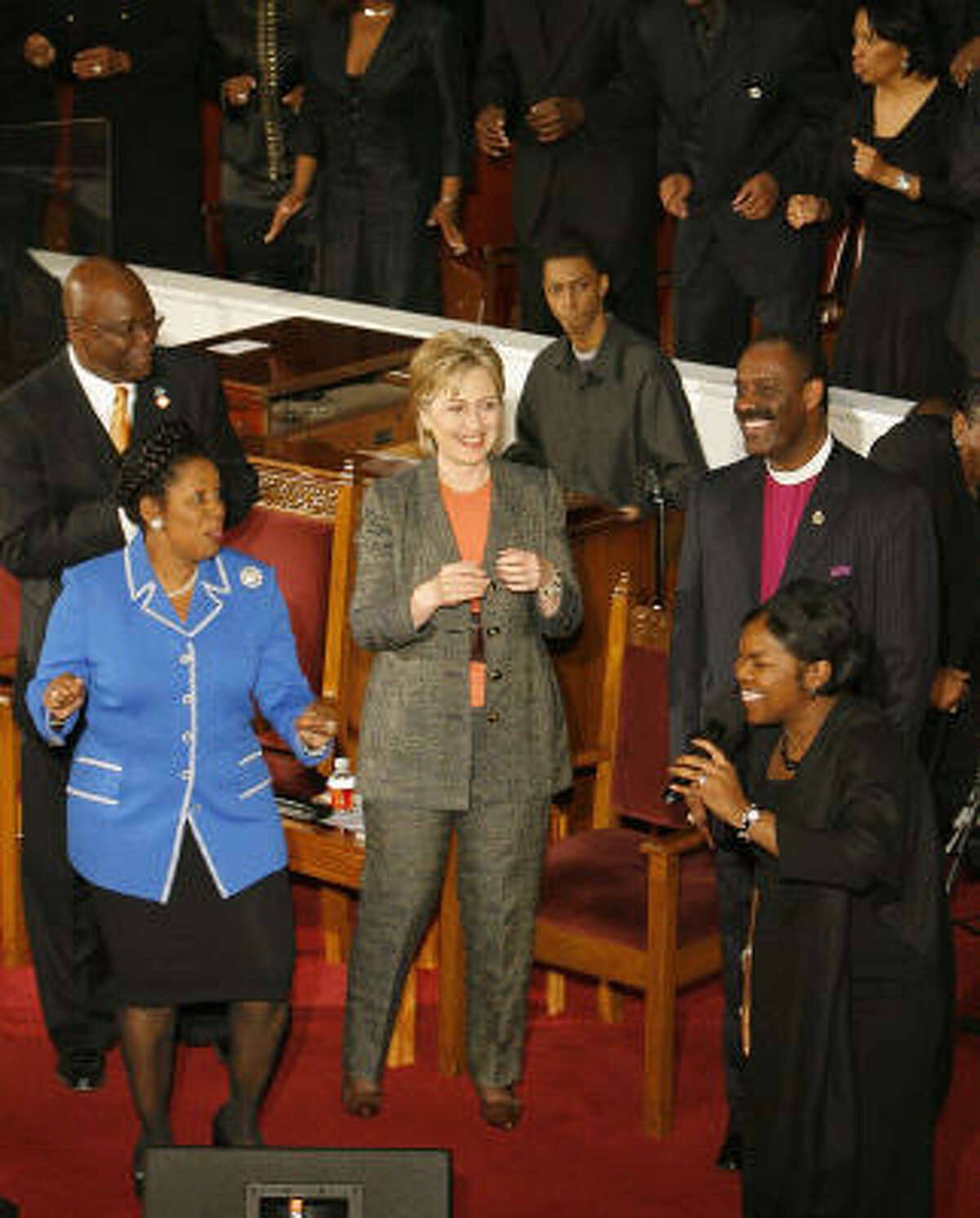 U.S. Rep. Sheila Jackson Lee, left, a Democrat from Houston, appeared with Sen. Hillary Rodham Clinton at the Wesley AME Church in downtown Houston earlier this year as Clinton battled for the Democratic nomination.