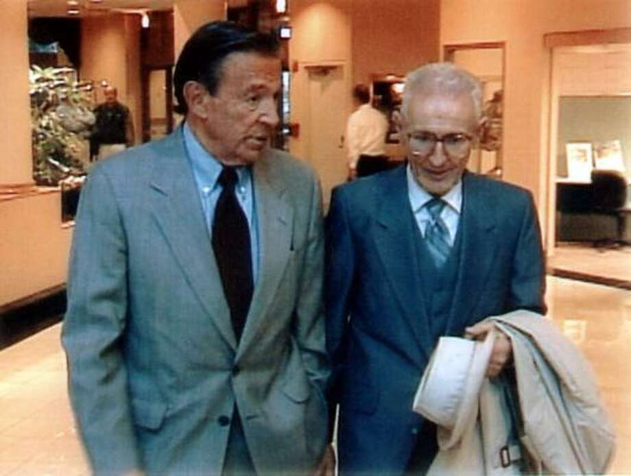 Dr. Jack Kevorkian's 1998 interview with Mike Wallace, left, was used by the prosecution in his trail on second-degree murder charges. Photo: Associated Press
