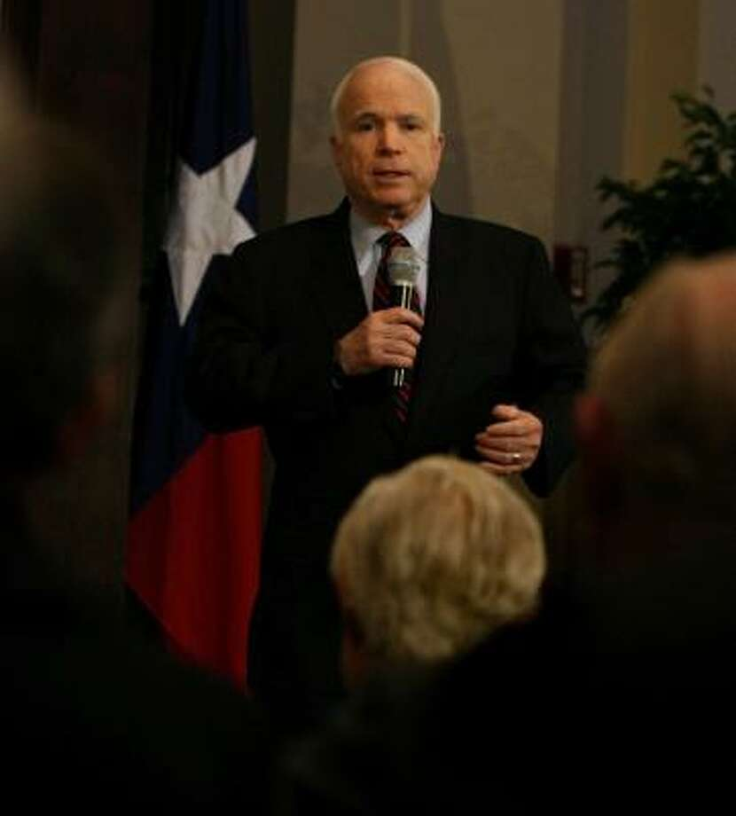 Sen. John McCain, R-Ariz., holds a town hall meeting Thursday at the James A. Baker III Institute for Public Policy at Rice University. Photo: SHARÓN STEINMANN, CHRONICLE