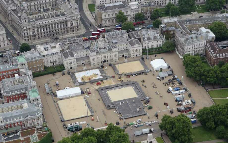 LONDON, ENGLAND - JULY 26:  Aerial view of Horseguards Parade which will host Beach Volleyball events during the London 2012 Olympic Games on July 26, 2011 in London, England.  (Photo by Tom Shaw/Getty Images) Photo: Tom Shaw, Getty Images / 2011 Getty Images