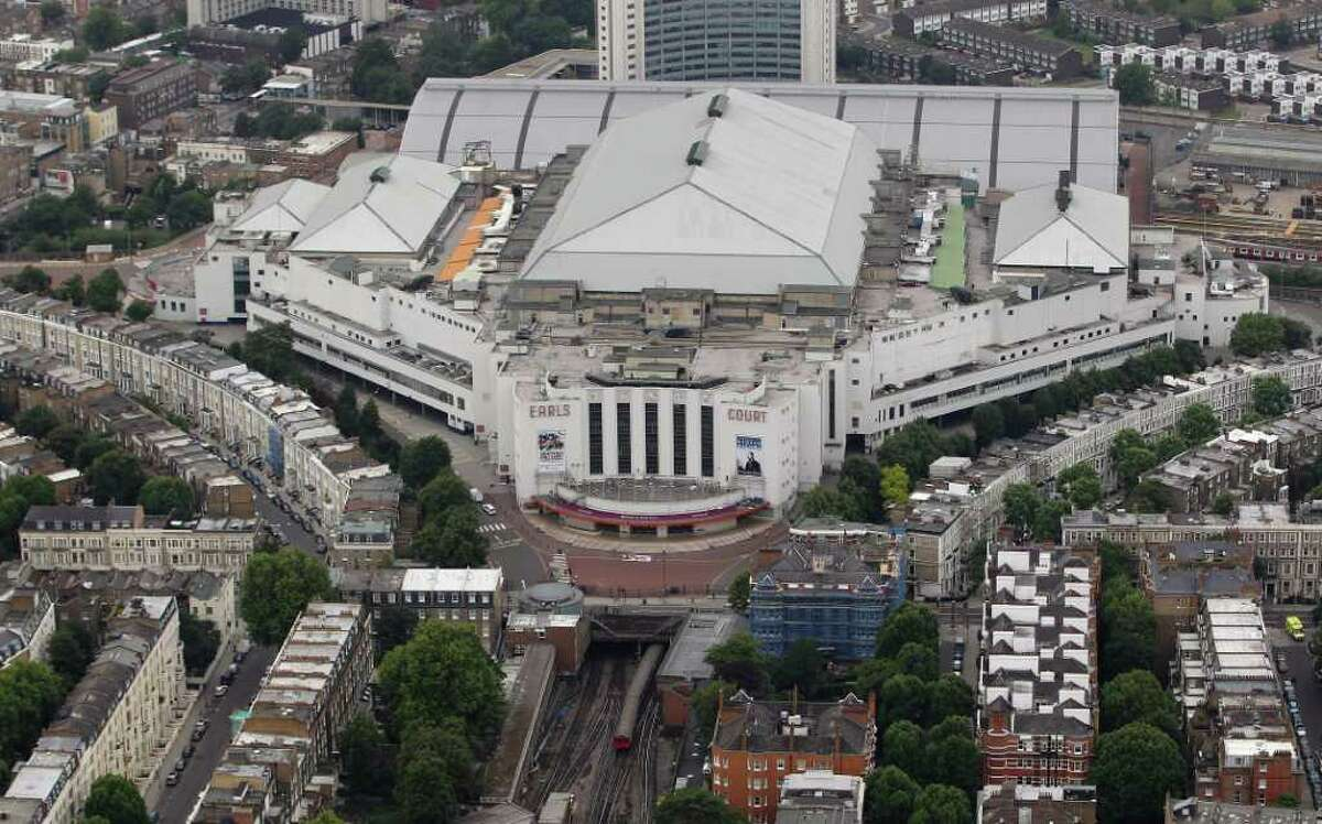 LONDON, ENGLAND - JULY 26: Aerial view of Earls Court which will host Volleyball events during the London 2012 Olympic Games on July 26, 2011 in London, England. (Photo by Tom Shaw/Getty Images)