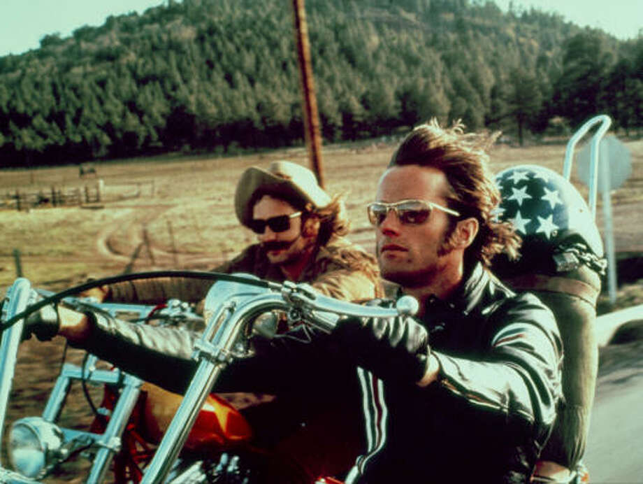 Easy Rider, starring Dennis Hopper, left, and Peter Fonda didn't portray the typical road trip. Photo: Columbia Pictures