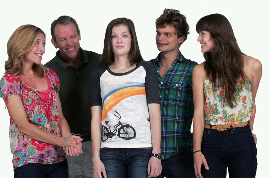 """Catherine Porter, Stephen Bogardus, Meghann Fahy, Andrew Durand, and Melissa Benoit (left to right) are featured in the new musical """"The Unauthorized Autoibiography of Samantha Brown"""" which is getting a try-out run at the Norma Terris Theatre in Chester through Aug. 28. Photo: Contributed Photo"""