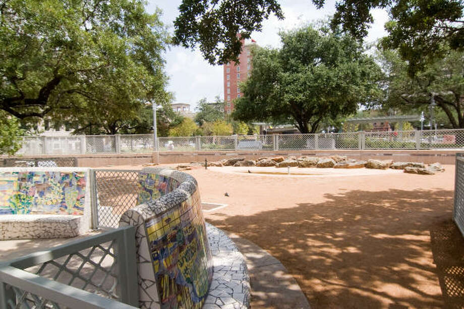 BOW WOW: The Market Square dog park appears almost complete, in time for the Aug. 28 re-opening ceremony. Photo: R. Clayton McKee, For The Chronicle