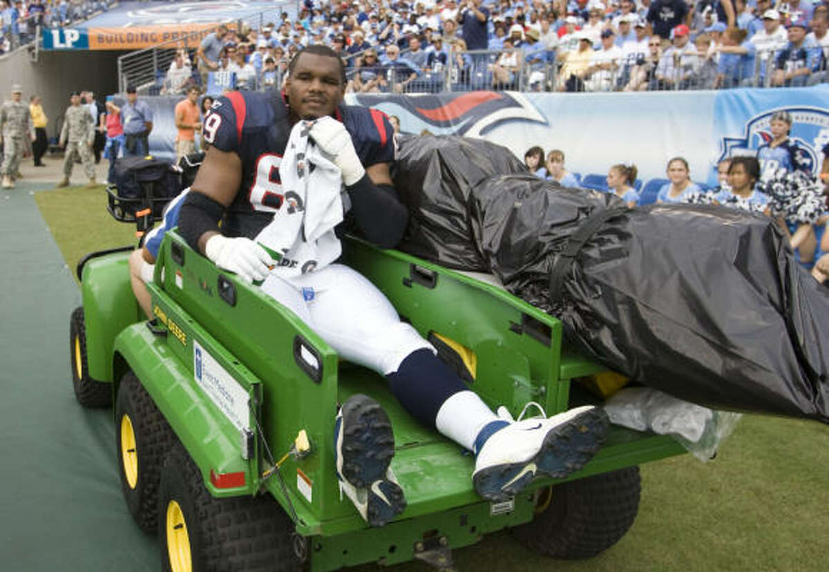 Chester Pitts had started every game in Texans history before his injury Sunday.