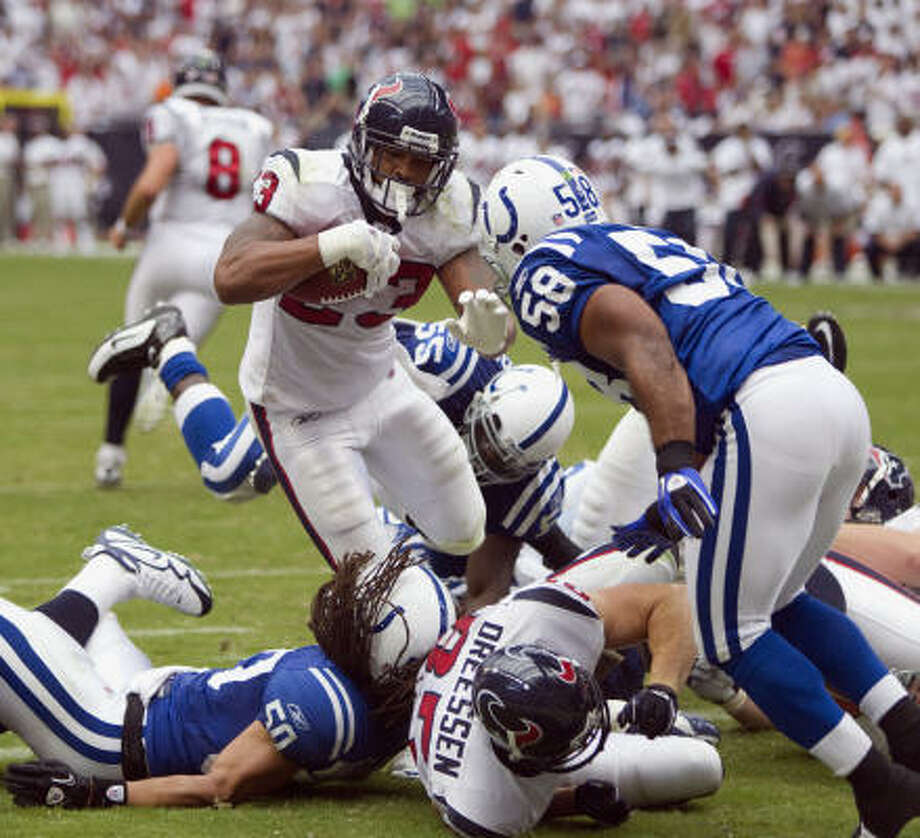 Arian Foster and the Texans will look to duplicate last year's opening victory over the Colts. Photo: Brett Coomer, Chronicle